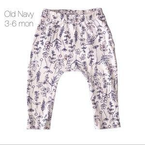 Old Navy White Blue Floral Harem Pants 3-6 mon